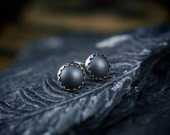 Hematite Studs, Hematite Earrings, 6mm Studs, Rustic Earrings, Matte Hematite, Black Gemstone,