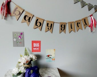BABY GIRL- Kraft handlettered bunting banner with red and pink tassels- handmade upcycled party decor gender reveal baby shower shabby decor