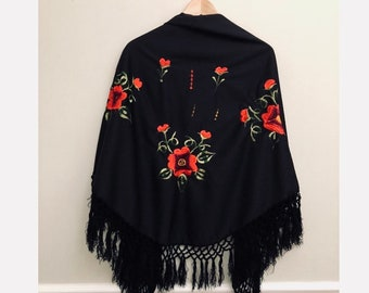 Embroidered Mexican rose poncho wrap with fringe, bohemian black fringe poncho wrap with rose embroidery