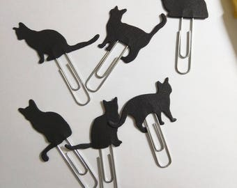 Set of 6 double sided black cat silhouette Planner Clips|Bookmarks|Paper Clips|Halloween themes|School supplies|Office accessories|