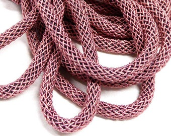 15%OFF Pink Silk cord soft chunky woven rope necklace tube 6mm thick genuine organic natural handspun silk braided over polyester core 1foot