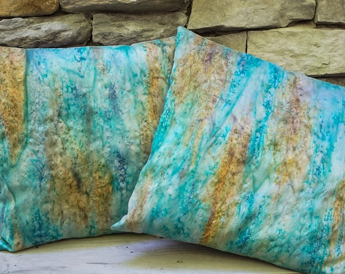 Teal Blue Pillow Cover 18x18-Watercolor Silk Pillow-Aqua Pillow-Boho Decor-Coastal Decor-Beach Decor-Mother's Day Gift-Watercolor Home Decor