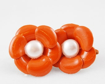 Vintage Burnt Orange and Faux Pearl Flower Clip On Earrings