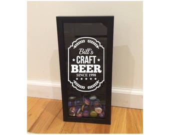 """Beer Cap Shadow Box Holder - Craft Beer with Custom Name and Since Date - Black (6"""" x 14"""") - Vinyl Decal Gifts, Home Bar Accessories"""
