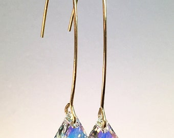 Minimalist modern charm earrings made with Swarovski diamond Aurora Borealis crystal drops with gold plated brass earwires