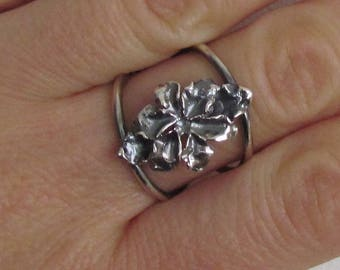 Silver Lily Ring.Flower Ring.Handmade Silver Ring.Statement Ring