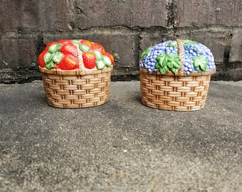 Two Ceramic Baskets / Strawberry and Grapes / Condiment Bowl