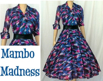 Mambo Maven -  Vintage 1950's Party Dress - Small