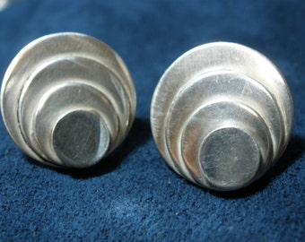 Sterling Silver Cocentric Circles Stud Earrings