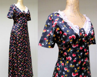 Vintage 1960s Dress / 60s Does 30s Floral Rayon Empire Maxi Dress / Medium