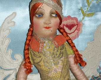 Fabulous Metallic Lace American Cloth Boudoir Doll Red Head all original wearing a Deco pant suit