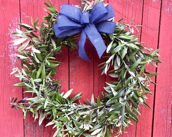 "Spring Wreath with Fresh Olive Branches- 18"" with Custom Bow"