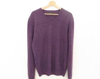 Vintage De Blasio Purple Wool Mix V-neck Sweater Jumper, sz. M