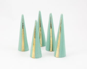 Modern Ceramic Ring Cone Holder Storage Jewelry Organization Display: Jade Gold Stripe