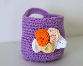 Crochet panier lavande avec Makeup Remover coussinets lavande débarbouillettes