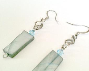 Steel Blue Stone Handmade Earrings With Blue Swarovski Crystal