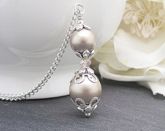 Taupe Pearl Necklace, Taupe Wedding Jewellery, Beige Bridal Sets, Platinum Pearl Pendant, Simple Bridal Necklace, Bridal Party Gift Ideas