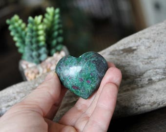 Ruby Fuchsite Heart Stone, Wiccan Altar Supplies, Crystal Healing Stone, Wiccan Stone, Natural Ruby Fuchsite Specimen, LOVE, Gemstone Heart