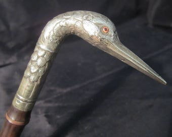 Antique silver plated parasol knob, umbrella handle, bird's head glass eyes, Edwardian, late 1800's