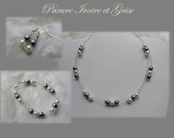 Gray and ivory ceremony bridesmaid Bridal jewelry set