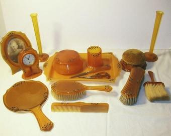 15-piece Art Deco Vanity/Dresser Set Celluloid includes vases, clock,frame, more
