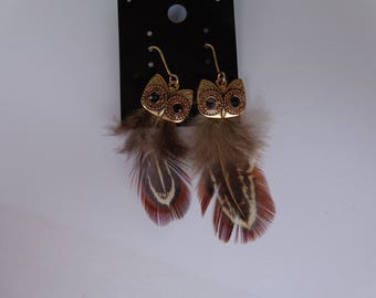 pair of owls Brown feather earrings