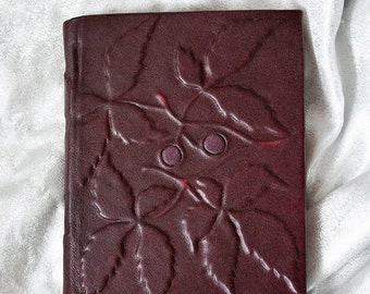 Large leather bound journal handmade blank book Guardian of the Red Grapevine