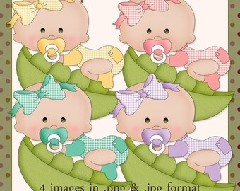 Peapod Babies Green Eyes - Digital Images for use in Scrapbook and Paper Crafts