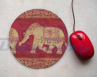 Asian Elephant Mousepad, Office Mousepad, Computer Mouse Pad, Fabric Mousepad