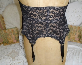 Vintage 50s HOLLYWOOD MAID UNDERBUST Boned Lace Corset Girdle with Garters Pin Up Boudoir Mid Century Chic