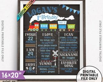 "Train Birthday Poster, 1st Birthday Board Train Theme Birthday Stats Milestones, Chalkboard Style PRINTABLE 8x10/16x20"" Custom B-day Board"