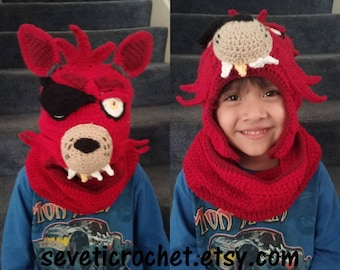 PATTERN! Fnaf INSPIRED pattern only! Fnaf character hat crochet pattern Cowl and Hat combo
