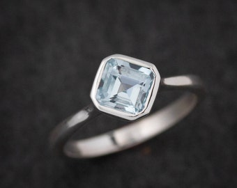 Asscher Cut Blue Aquamarine Ring, Eco Sterling Solitaire Engagement Ring, Octagonal Gemstone Ring, March Birthstone Ring,Low Profile Ring