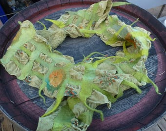 Hand dyed merino, silk and printed silk felted scarf.