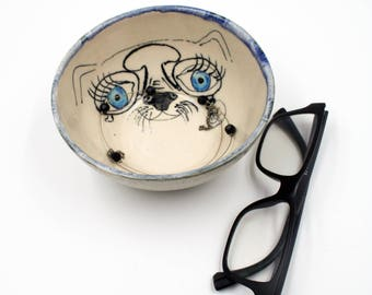 Handmade Wheel Thrown Illustrated Jewelry Dish, Ring Dish, Birthday Gift for Her, Gift for her