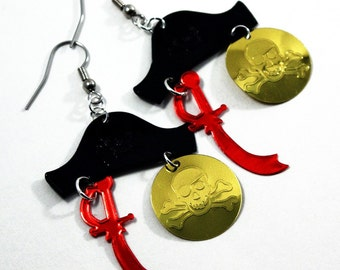 Swashbuckling Pirate Earrings Halloween Earrings Pirate Hat Pirate Sword & Gold Coin Confetti Dangles Plastic Sequin Jewelry