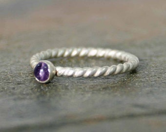 Sterling Twist Amethyst Ring, Stackable Stone Ring, February Birthstone Ring, Sterling Silver Ring, Dainty Ring, Rope Ring, Twisted Ring