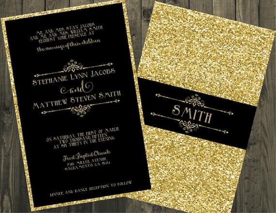 black and gold wedding invitations