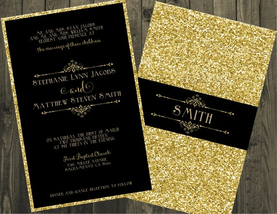 Black and Gold Wedding Invitation Glitter Wedding
