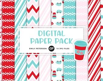 50% OFF SALE! Peppermint Mocha Digital Paper, Winter Background Paper - Commercial Use, Instant Download - V1