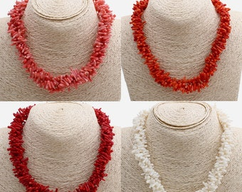 Authentic red, pink or white Coral necklace, perfect gift for women