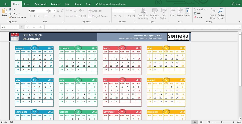 Excel-Kalendervorlage 2019 druckbare Tabelle Vorlage