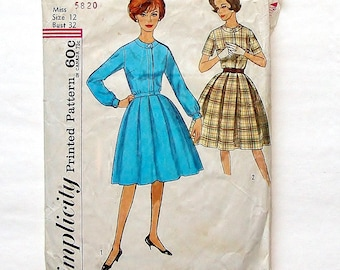 Vintage 60's Simplicity Misses' One-Piece Dress Pattern #4617 - Size 12 (Bust 32) - Cut and complete