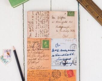 A5 Fabric Sketchbook, Vintage Postcards pattern design, suitable for watercolour cartridge paper book