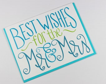 Wedding Card - Wedding Congrats Card - Wedding Day Card - Congratulations Card - Newlywed Card - Marriage Card - Best Wishes to Mr and Mrs
