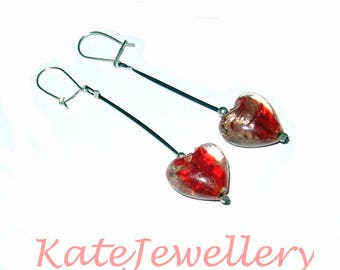 925 Sterling Silver & Venetian Glass Earrings.Ladies gift. Long earrings. Gift for her. Crystal earrings. Heart Earrings. Silver Earrings
