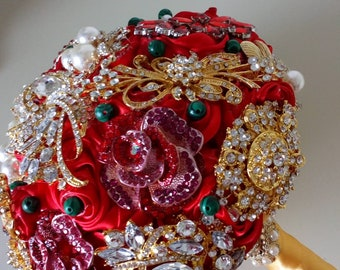 REF. ELEANOR Red Bouquet Brooch Bouquet Wedding Flowers Bridal Posy Handmade Crystal Bouquet Jewelled Bouquet Memory Bouquet