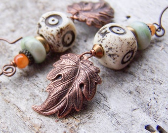 Limited Edition Copper Leaves Carved Bone Amazonite Glass Bohemian Earthy Organic Nature Lover Etsy Earrings Jewelry For Her Under 25
