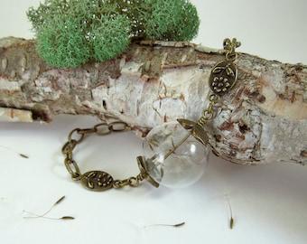 Dandelion seed bracelet, dandelion wish jewelry, make a wish, real dandelion seeds, terrarium bracelet