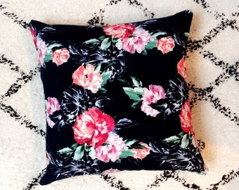 Navy and Pink Floral Cushion Cover